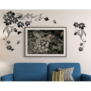 Wall Stickers Beautiful Black Flowers Vine With Butterfly Design For LED TV Background Vinyl