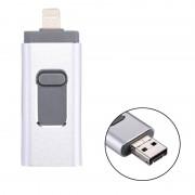 RQW-01B 3 in 1 USB 2.0 & 8 Pin & Micro USB 128GB Flash Drive voor iPhone & iPad & iPod & meeste Android Smartphones & PC Computer(Silver)