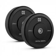 Elongate Bumper Plate Gewichtsplatten Paar Gummi 25kg