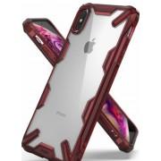 Protectie Spate Ringke Fusion X 8809628563636 pentru iPhone Xs Max (Transparent/Rosu)