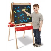 Melissa & Doug Deluxe Magnetic Standing Art Easel with Chalkboard, Multi Color