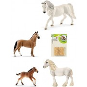 Schleich Mixed Horse Set of 5 with Andalusian Mare, Shire Foal, Mini Shetland Foal, Appaloosa Stallion, and Knabstrupper Mare: Nice Farm Life