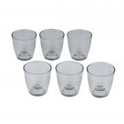 Alpina 6x Drinkglazen/waterglazen transparant met ribbels 225 ml