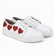 Bootico and Co. White Heart Sneakers Sneakers For Women(White)