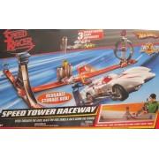 Mattel Hot Wheels Trick Tracks Speed Tower Raceway Race Track Racing Set W 3 Speed Racer Cars, Stunt & More! (2007)