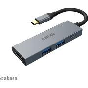 AKASA USB Type-C 4-in-1 Hub - 2 x USB3.0 Type A + PD Type C, HDMI / AK-CBCA19-18BK