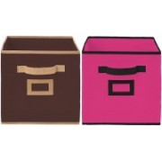 Billion Designer Non Woven 2 Pieces Small Foldable Storage Organiser Cubes/Boxes (Coffee & Pink) - CTKTC35171 CTKTC035171(Coffee & Pink)