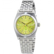 Nixon A399-1898 Ladies Small Time Teller Silver Neon Yellow Watch
