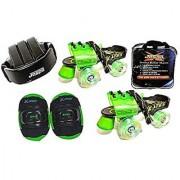Jaspo Marshal GREEN Adjustable Roller Skates Combo (Skates + Helmet + Knee Guards + Bag) - For Age Group 6 To 14 Years