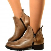 Stivaletti Ankle Boots in Pelle Liscia Taupe con Zip Made in Italy T: 37