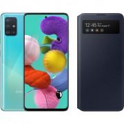 Samsung Galaxy A51 Blauw + Samsung S View Wallet Cover Zwart