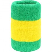 Neska Moda Unisex Pack Of 1 Green And Yellow Striped Cotton Wrist Band WB48