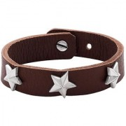 Dare by Voylla Squad Star Studded Brown Leather Bracelet