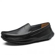 XIANGBAO-Personality -Personalidad Mocasines para Botes de Moda para Hombre Moda Casual Low Top Slip On Color sólido Cómodo peldaño Toe Boat (Color : Negro, tamaño : 27)