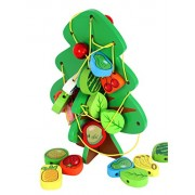 Wooden 2 in 1 Fruit Tree Lacing & Stringing Beads Toys Strings of Fruit Trees Puzzle Educational Learning Preschool Toddler Toy