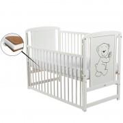 BabyNeeds Patut din lemn Timmi 120x60 cm cu laterala culisanta Alb cu Saltea 8 cm