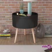 vidaXL Bočni stol sa poslužavnikom Okrugli 39,5x44,5 cm Crni