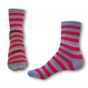 Styx Ponožky Styx crazy červeno šedé proužky (H324) L