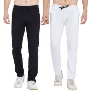 Cliths Trackpants for Men stylish Pack of 2 Cotton Joggers/ Yoga Pants For Men (Black White Black Red)