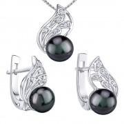 Silvego Stříbrné set GENEVIE s přírodní perlou v barvě Tahiti - náušnice a přívěsek - LPS1697W