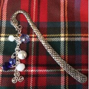 Celtic Triskelion Bookmark Charm Crystal Beads Book Readers Scottish
