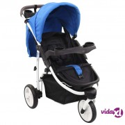 vidaXL Dječja kolica s 3 kotača plavo-crna