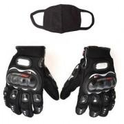Combo Pack For Pro Biker Gloves Black-L+ Pollution Mask-Black