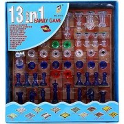 Vini Toys Magnetic 13 In 1 Family Board Game -Chess Backgammon Ludo Tic-Tac-Toe Checkers Snakes Ladders And Many More