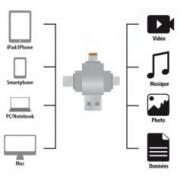 Callstel Lecteur Micro SD compatible connecteurs Lightning / Micro-USB / USB type C