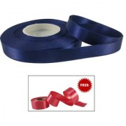 De-Ultimate Navy Satin Ribbon Roll of 18 Meter for Decorations Gift Wrapping Hobby and School Craft With Freebie Ribbon