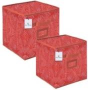 Billion Designer Laheriya Design Non Woven 2 Pieces Small & Large Foldable Storage Organiser Cubes/Boxes (Orange) - BILLION36116 BILLION036116(Orange)