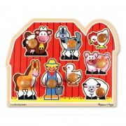 Melissa & Doug Fa készségfejlesztő játék, Puzzle fogantyúval, farm