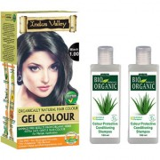 Indus Valley Bio Organic Gel Black 1.00 And Colour Protective Shampoo For Shiny Hair Combo Pack Of 3