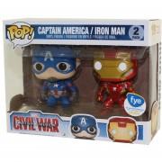 Funko Pop Captain America And Ironman 2 Pack Fye Exclusivo Civil War