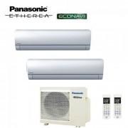 Panasonic Climatizzatore Condizionatore Panasonic Dual Split Inverter Etherea Silver 9000+12000 Con Cu-2e18sbe