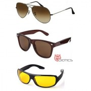 Ediotics Classic Brown Aviator Classic Brown Wayfarer Yellowt Night Driving Sunglasses