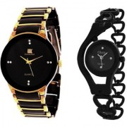 IIK Collection GoldBlack With Glory Black Chain Stylish Casual Watches For Mens- Womens Cupple Watch 6 month warranty