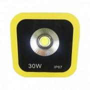 Proiector LED 30W Alb Rece 220V Rama Galbena