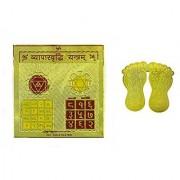 eshoppee vyapar vridhi yantra 3x3 inch with mata laxmi charan paduka