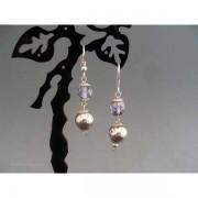 Cercei bijuterie cu cristal violet