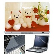 FineArts Laptop Skin Teddy with Heart and Flower With Screen Guard and Key Protector - Size 15.6 inch