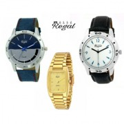Mark Regal 2 Leather Strap+1 Metal Gold Plated Men's Watches Combo Of 3