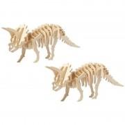 Geen 2x Houten Triceratops bouwpakket