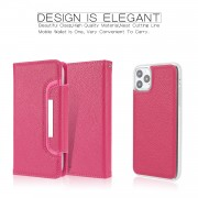 Litchi Texture Detachable Leather Wallet Cover Phone Case for iPhone 11 Pro Max 6.5 inch - Rose