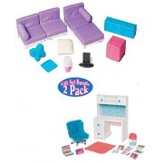 """Doll Furniture for 18"""" Doll - Living Room Set, Desk and Chair Set Bundle Fits American Girl, Our Generation, My Life As, Journey Girls and more by myLife Brand Products"""