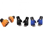 CP Bigbasket Pack of three (3) Netted with Wrist Support Gym Fitness Gloves (Free Size) orange-black-blue