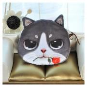 Lindo Mujeres Moda Monedero Animal Cat Print Mini Monedero Cremallera De Cierre Pequeño Bolso De Embrague De 5