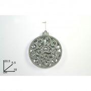 Appendino medaglione con glitter argento 18 cm