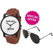 Jack Klein Combo of Stylish White Dial Brown Strap Analogue Wrist Watch And Glasses