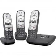 Bežični analogni telefon Gigaset A415A Trio automatska sekretarica osvijetljeni ekran crni, srebrni L36852-H2525-B111